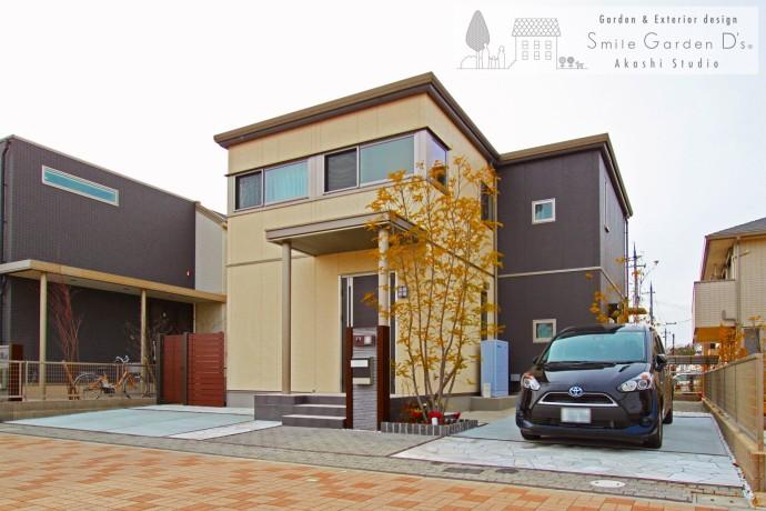 メンテナンスフリーなシンプルモダン外構 庭リフォーム 神戸市