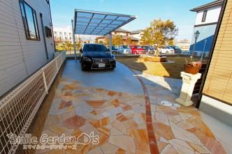 デザインカーポート 乱形自然石 車庫まわり