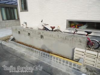 左官下地 ピンコロ花壇 片面化粧ブロック