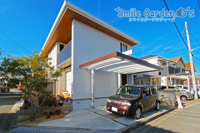 デザインカーポート 木調色 加古川市