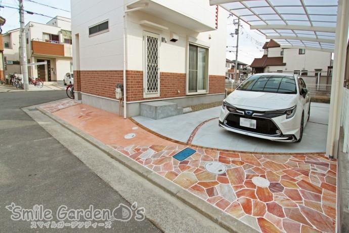 駐車場 アクセント 乱形自然石