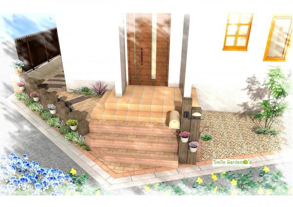 お庭のアクセントに枕木を使用