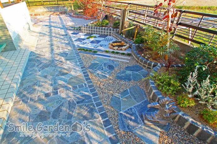 加古川市 外構 庭リフォーム 乱形自然石 和モダン 瓦