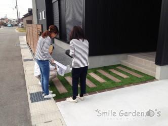 人工芝生 擬木枕木 マイティウッドフェンス