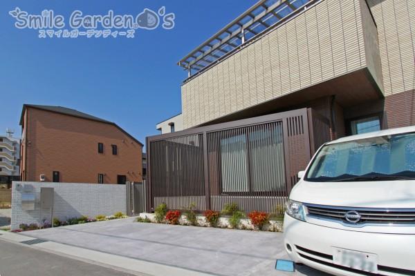 お庭とアプローチを囲ったセミクローズ外構 明石市