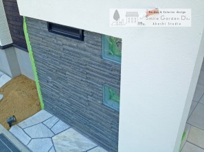 門柱 アプローチ 塗り壁 東洋工業ノヴェルプレート