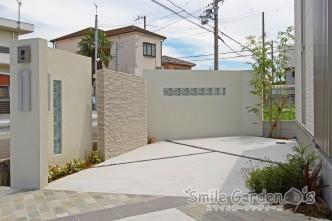門柱 ガラスブロック 塗り壁 加古川市