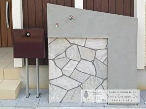 外構工事 門まわり 門柱 乱形自然石