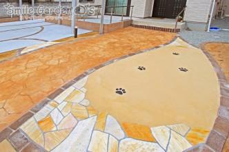 カラーコンクリート 乱形自然石 スタンプコンクリート レンガ タイルテラス 加古川市