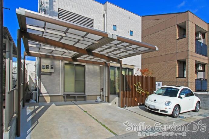 Uスタイル 角柱 タイルテラス デザインカーポート 加古川市