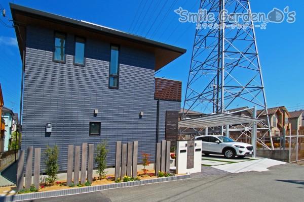門まわり 花壇 枕木材 神戸市西区