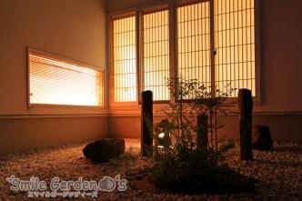 夜の坪庭 ライティング 加古川市