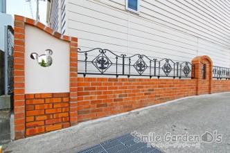 レンガ積みと塗り壁のデザインウォール 高砂市