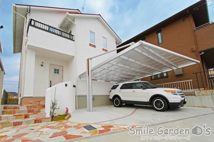 北欧風のお家に合わせたオープン外構デザイン