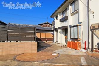 スタンプコンクリートで高級感のあるお庭に 加古川市