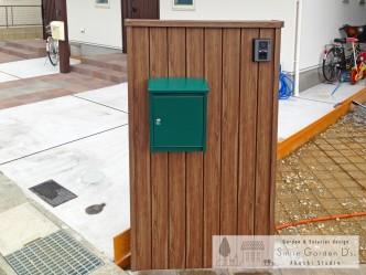 門柱 タカショー アルミラウンド板 木調門柱 外構工事