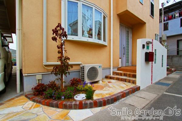植栽のある門まわり 庭のリフォーム 明石市 神戸市西区