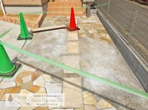 スマイルガーデン明石 洗い出し 乱形自然石 庭デザイン