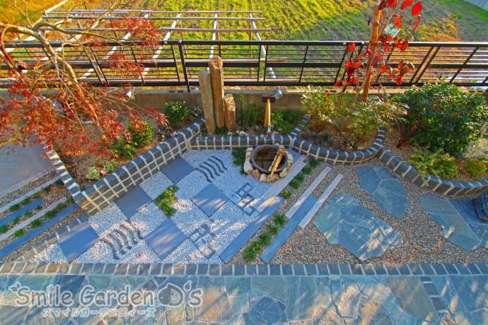 加古川市 庭リフォーム 和風 瓦 乱形自然石