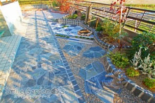 庭リフォーム ピンコロ石 乱形自然石