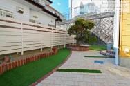 スマイルガーデン 庭デザイン 目隠しフェンス 人工芝 レンガ 明石市